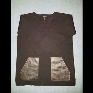 J Crew Merino Wool Black Luxe Leather Pockets Sz S